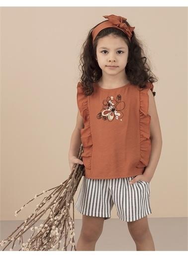Ollie & olla Çiçek Nakışlı Fırfırlı Kız Bluz Kiremit